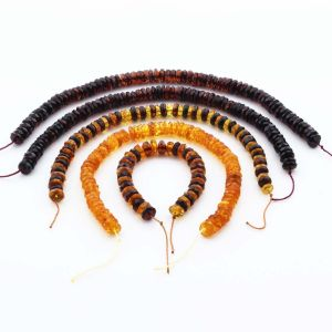 Natural Baltic Amber Loose Beads Strings Set of 6pcs. 35.82gr. ST1358