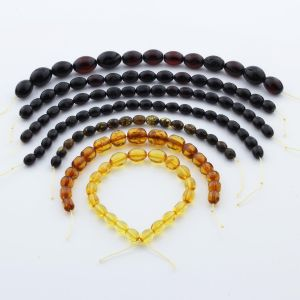 Natural Baltic Amber Loose Beads Strings Set of 7pcs. 55.6gr. ST1294