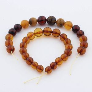 Natural Baltic Amber Loose Beads Strings Set of 2pcs. 31gr. ST945