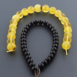 "Natural Baltic Amber Loose Beads Strings Set of 2 Pcs. 20cm / 7.87"" - Round. ST518"