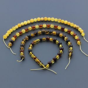 Natural Baltic Amber Loose Beads Strings Set of 4pcs. 25gr. ST947