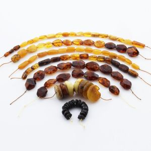 Natural Baltic Amber Loose Beads Strings Set of 8pcs. 69gr. ST1299