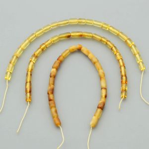 "Natural Baltic Amber Loose Beads Strings Set of 3 Pcs. 20cm / 7.87"" - Cylinder.  ST388"