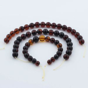 Natural Baltic Amber Loose Beads Strings Set of 3pcs. 36gr. ST953