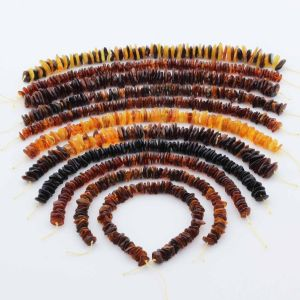 Natural Baltic Amber Loose Beads Strings Set of 11pcs. 121.3gr. ST1302