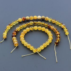 Natural Baltic Amber Loose Beads Strings Set of 3pcs. 25gr. ST962