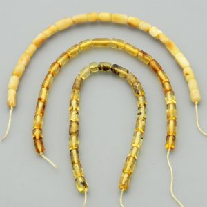 "Natural Baltic Amber Loose Beads Strings Set of 3 Pcs. 20cm / 7.87"" - Cylinder.  ST386"