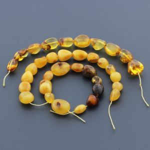 Natural Baltic Amber Loose Beads Strings Set of 3pcs. 47gr. ST980