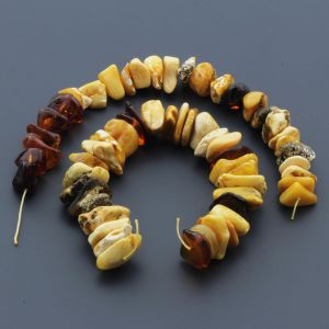 Natural Baltic Amber Loose Beads Strings Set of 2pcs. 53gr. ST774