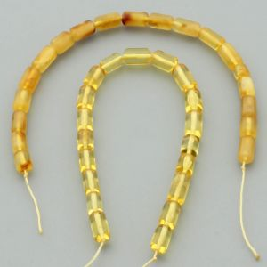 "Natural Baltic Amber Loose Beads Strings Set of 2 Pcs. 20cm / 7.87"" - Cylinder.  ST398"