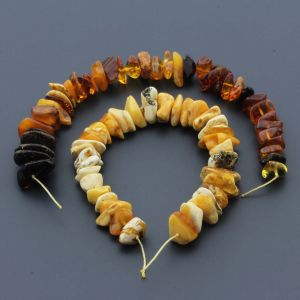 Natural Baltic Amber Loose Beads Strings Set of 2pcs. 38gr. ST778