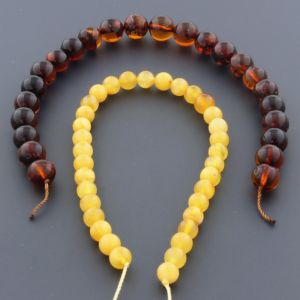 "Natural Baltic Amber Loose Beads Strings Set of 2 Pcs. 20cm / 7.87"" - Round.  ST535"