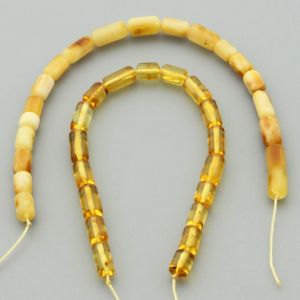 "Natural Baltic Amber Loose Beads Strings Set of 2 Pcs. 20cm / 7.87"" - Cylinder.  ST396"