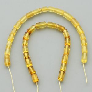 "Natural Baltic Amber Loose Beads Strings Set of 2 Pcs. 20cm / 7.87"" - Cylinder.  ST392"