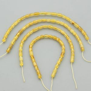 "Natural Baltic Amber Loose Beads Strings Set of 4 Pcs. 20cm / 7.87"" - Cylinder. ST416"