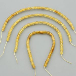 "Natural Baltic Amber Loose Beads Strings Set of 4 Pcs. 20cm / 7.87"" - Cylinder. ST418"