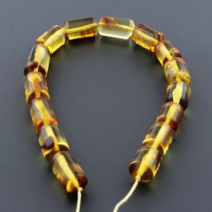 "Natural Baltic Amber Loose Beads Strings Set of 1 Pc. 20cm (7.87"") - Cylinder. ST545"