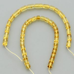 "Natural Baltic Amber Loose Beads Strings Set of 2 Pcs. 20cm / 7.87"" - Cylinder.  ST407"