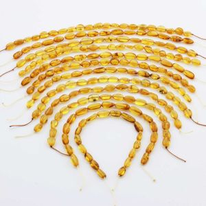 Natural Baltic Amber Loose Beads Strings Set of 12pcs. 62gr. ST1331