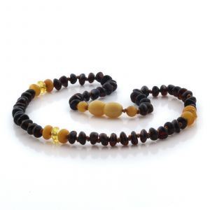 Natural Baltic Amber Teething Necklace. Roud Flat LE105