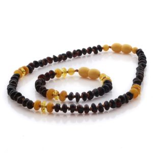 Natural Baltic Amber Teething Necklace & Bracelet Set. Round Flat LE105
