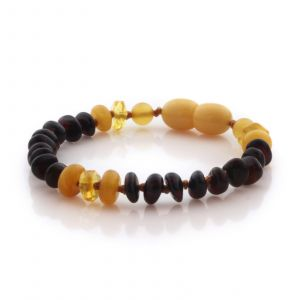 Natural Baltic Amber Teething Bracelet. Round Flat LE105