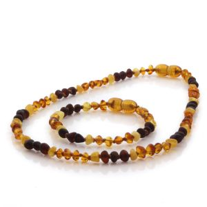 Natural Baltic Amber Teething Necklace & Bracelet Set. Baroque LE106