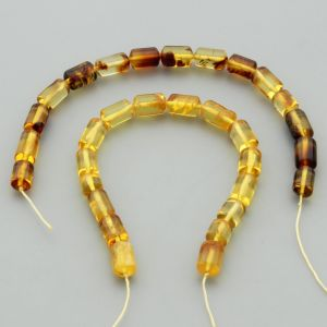 "Natural Baltic Amber Loose Beads Strings Set of 2 Pcs. 20cm / 7.87""  - Cylinder. ST436"