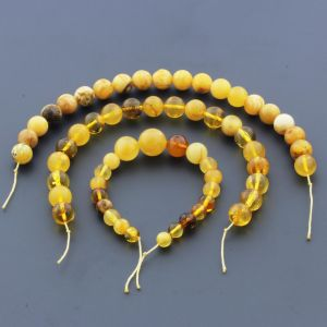 Natural Baltic Amber Loose Beads Strings Set of 4pcs. 31gr. Round Ball ST1101