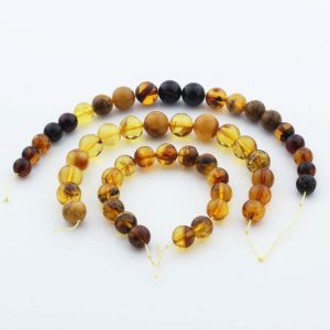 Natural Baltic Amber Loose Beads Strings Set of 3pcs. 37gr. ST1113