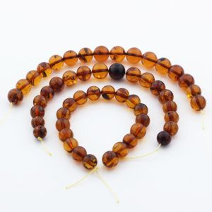 Natural Baltic Amber Loose Beads Strings Set of 3pcs. 59gr. ST1115