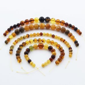Natural Baltic Amber Loose Beads Strings Set of 5pcs. 46gr. ST1116