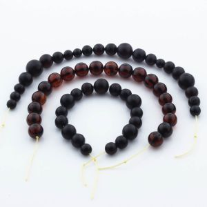 Natural Baltic Amber Loose Beads Strings Set of 3pcs. 33gr. ST1118