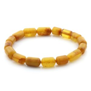 Natural Baltic Amber Bracelet Large Cylinder Beads 10mm 5.71gr SPR239