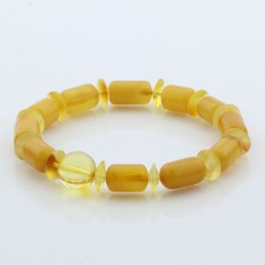 Natural Baltic Amber Bracelet Large Cylinder Beads 12mm 8.11gr SPR249