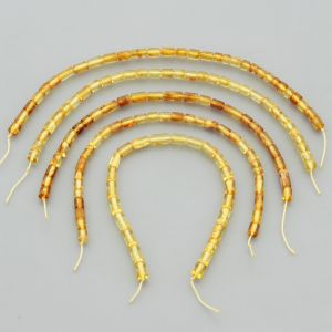 "Natural Baltic Amber Loose Beads Strings Set of 5 Pcs. 20cm / 7.87"" - Cylinder. ST460"