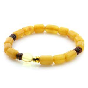 Natural Baltic Amber Bracelet Large Cylinder Beads 11mm 6.85gr SPR252