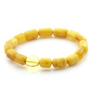 Natural Baltic Amber Bracelet Large Cylinder Beads 12mm 8.31gr SPR253
