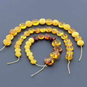 Natural Baltic Amber Loose Beads Strings Set of 3pcs. 31gr. ST1129