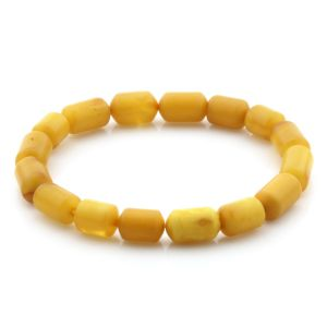 Natural Baltic Amber Bracelet Large Cylinder Beads 13mm 6.22gr SPR259