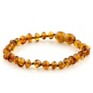 Baltic Amber Teething Bracelet. Baroque Cognac 5x4 mm