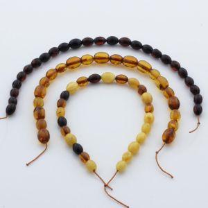 Natural Baltic Amber Loose Beads Strings Set of 3pcs. 15gr. ST665