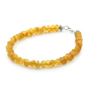 Adult Baltic Amber & 925 Sterling Silver Clasp Bracelet 18cm. Ba Yellow Matte A S.
