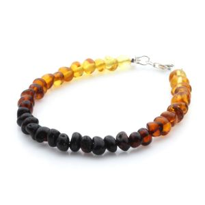 Adult Baltic Amber & 925 Sterling Silver Clasp Bracelet 18cm. Ba Rainbow I S.