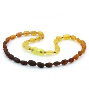 Raw Baltic Amber Teething Necklace. Olive Rainbow I Rough 5x4 mm