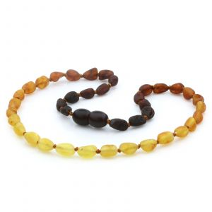 Raw Baltic Amber Teething Necklace. Olive Rainbow II Rough 5x4 mm