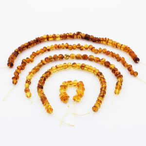 Natural Baltic Amber Loose Beads Strings Set of 5pcs. 29gr. ST1186