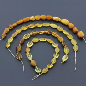 "Natural Baltic Amber Loose Beads Strings Set of 4 Pcs. 20cm (7.87"")  - Olive. ST586"