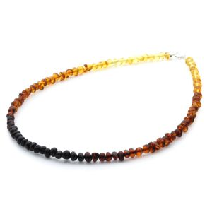 ADULT BALTIC AMBER & 925 STERLING SILVER CLASP NECKLACE 45CM. BA RAINBOW I S.