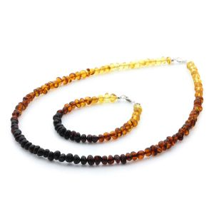 Adult Baltic Amber & 925 Sterling Silver Clasp Necklace & Bracelet Set. Ba Rainbow I s.